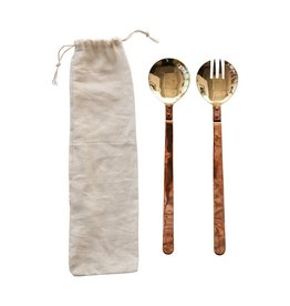 "Creative Co-op 11"" L Copper & Brass Salad Server"