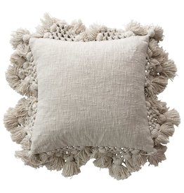 """Creative Co-op 18"""" Square Cotton Pillow w/Tassels-Grey"""