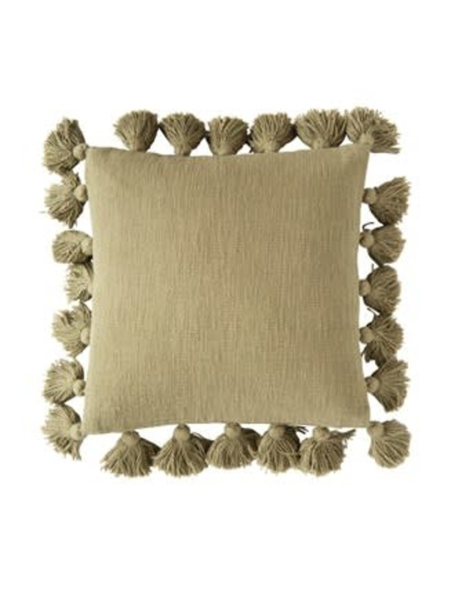 """Creative Co-op 18"""" Square Cotton Pillow w/tassels - olive"""