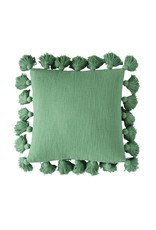 """Creative Co-op 18"""" Square Cotton Pillow w/tassels - green"""