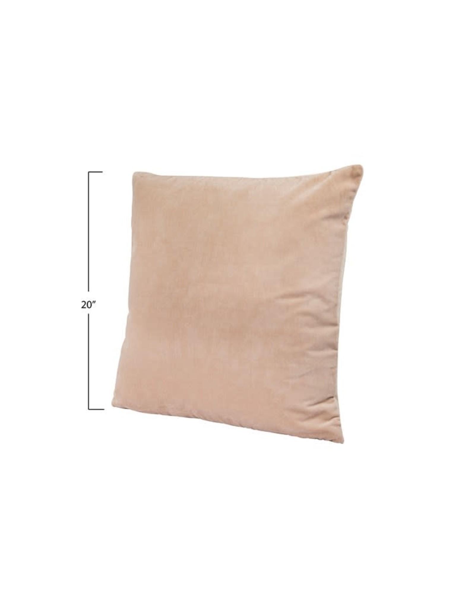 """Creative Co-op 20"""" Cotton Velvet Pillow w/gold zipper - taupe"""
