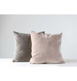 """Creative Co-op 20"""" Cotton Velvet Pillow w/gold zipper - grey"""