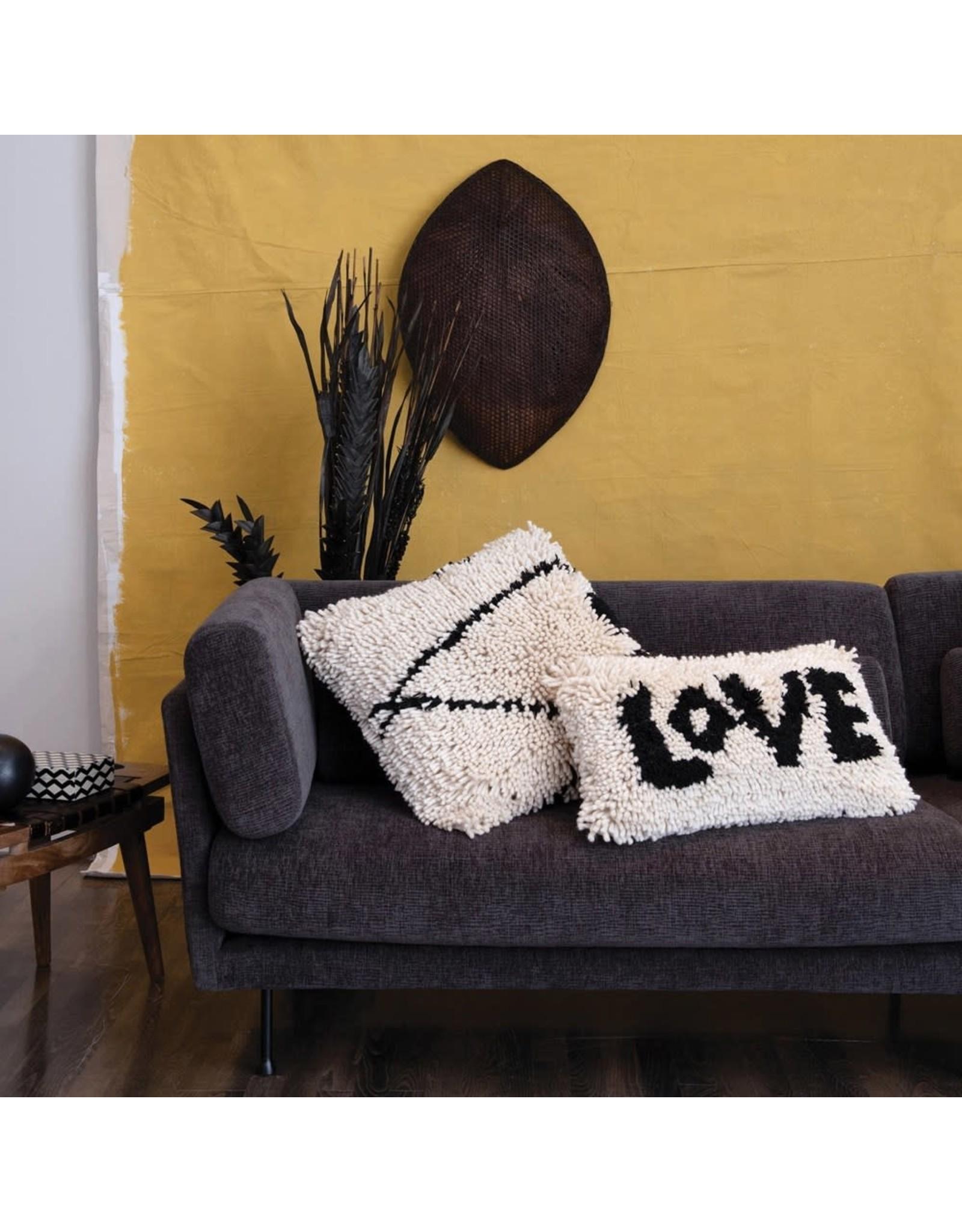 """Creative Co-op 24"""" Wool Shag Lumbar Pillow """"Love"""""""