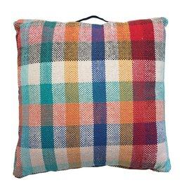 "Creative Co-op 26"" Square Woven Plaid Floor Pillow - Multi"