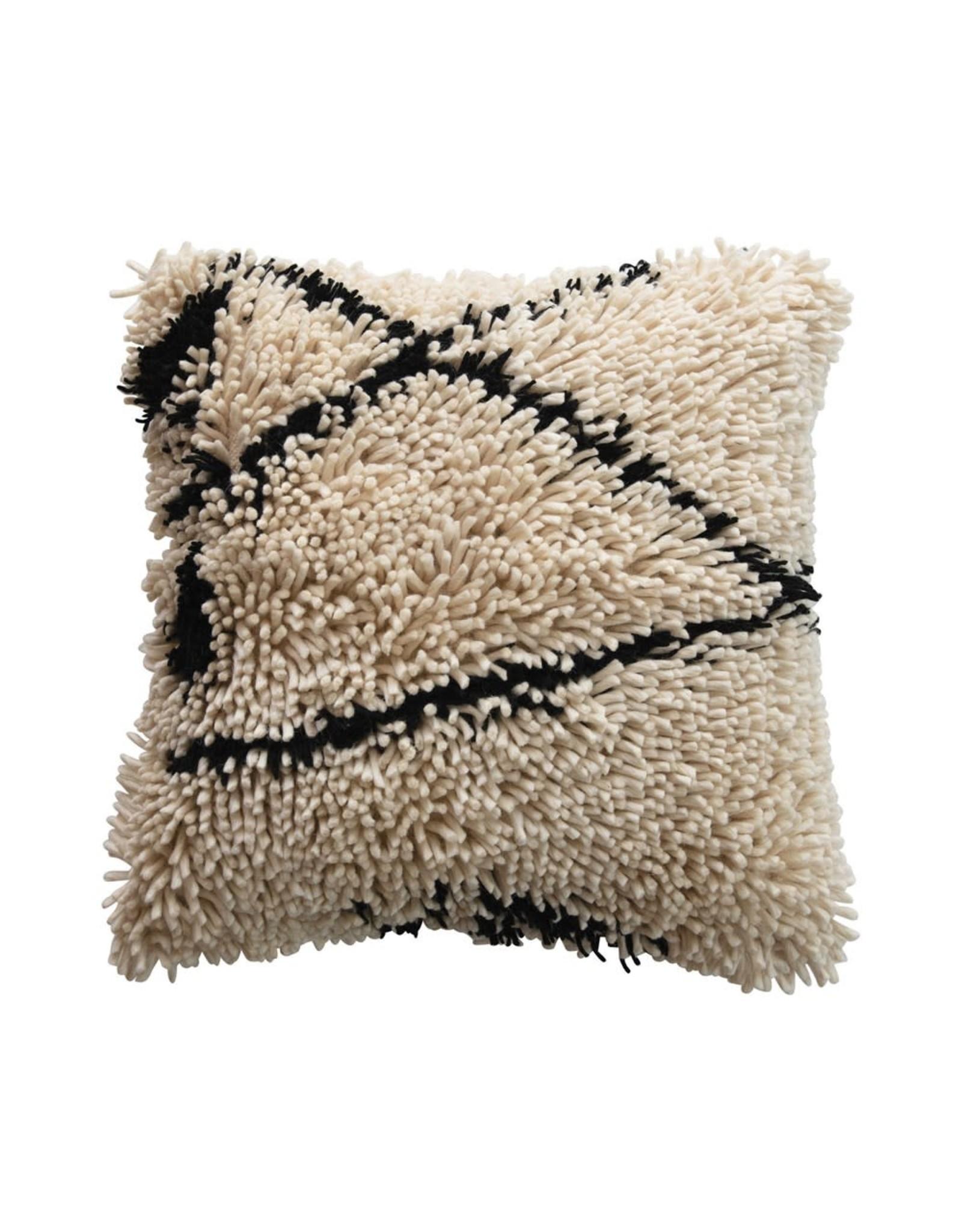 "Creative Co-op 24"" Square Wool Shag Pillow - Black & Cream"