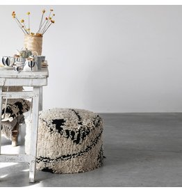 "Creative Co-op 24"" Round Wool Shag Pouf - Black & Cream"