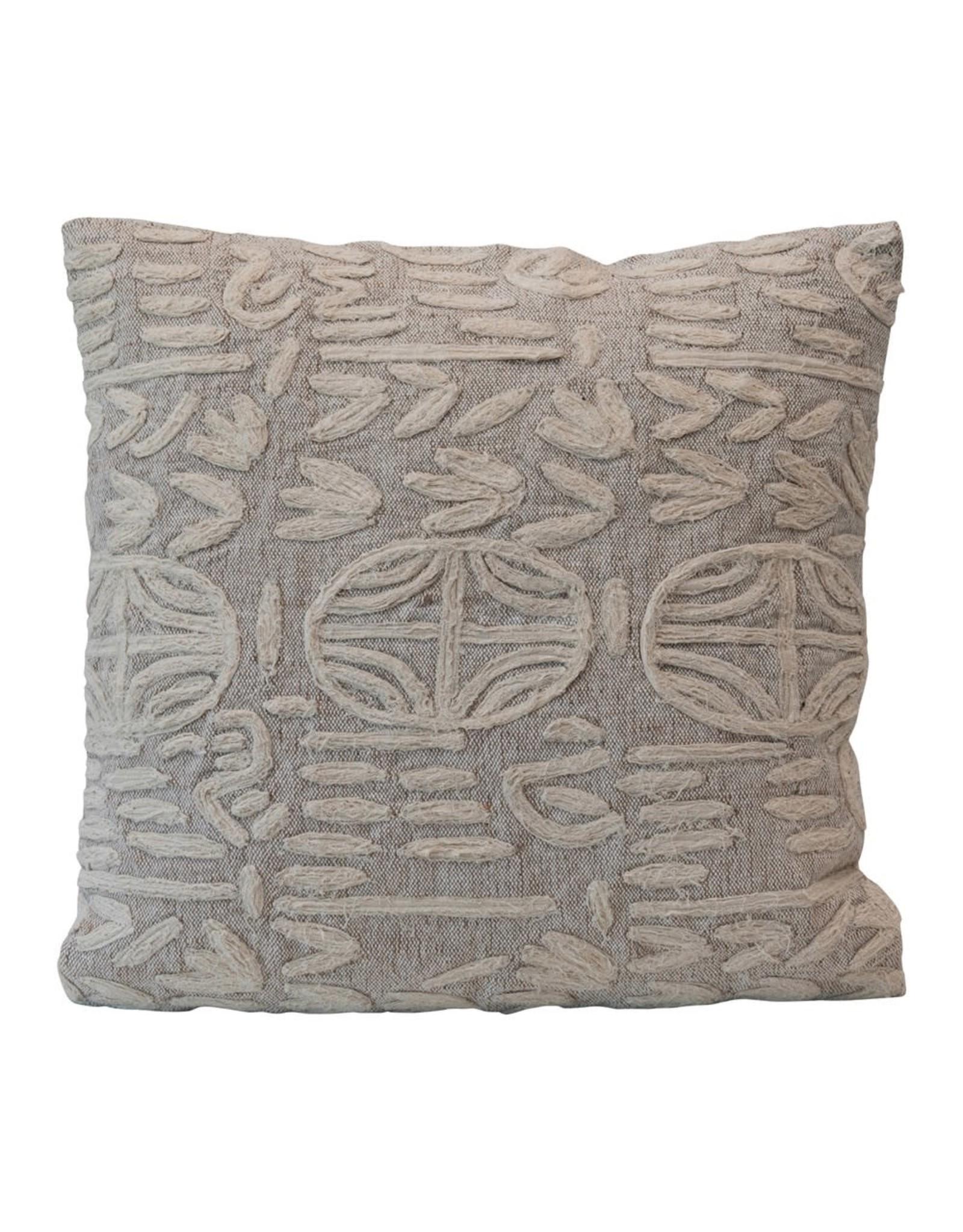 "Creative Co-op 20"" Pillow w/Jute Detail - Beige & Cream"