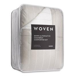 Malouf Woven Chambray Comforter - Oversized Queen - Birch