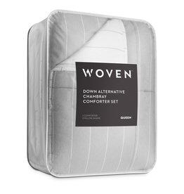 Malouf Woven Chambray Comforter - Oversized Queen - Flint