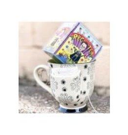 Creative Co-op Ceramic Tea Mug with bag holder Black and White