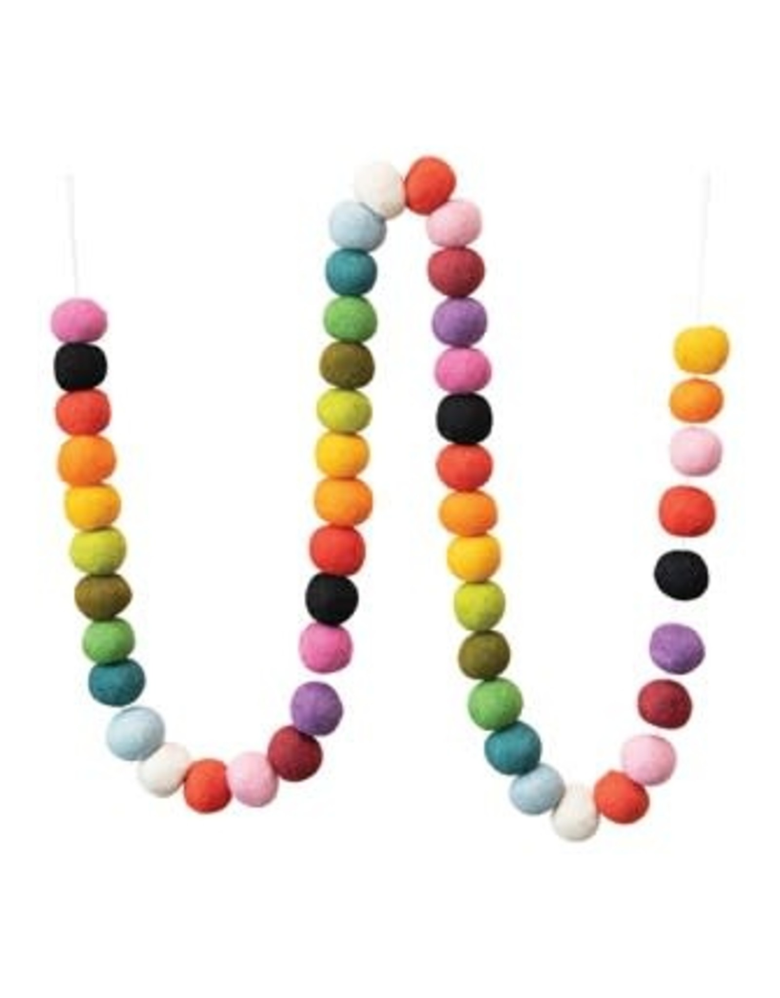 """Creative Co-op 72"""" Wool Felted Ball Garland - multicolored"""