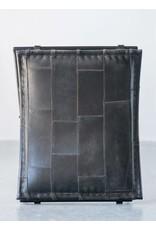 "Creative Co-op 19 3/4"" Leather & Metal Stool"