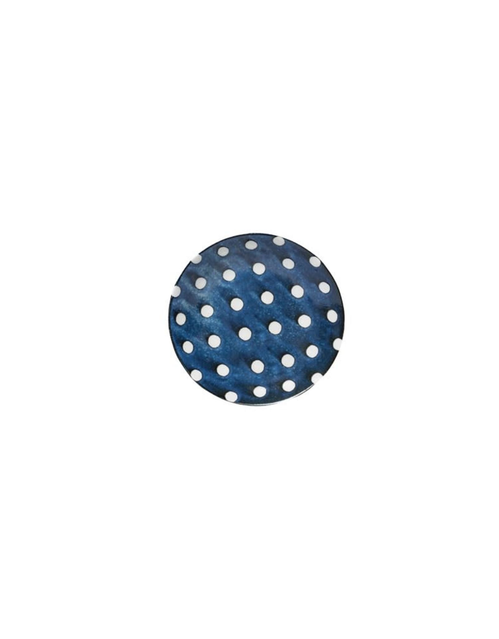 """Creative Co-op 8 3/4"""" Porcelain Bowl Blue w/White Polka Dots"""