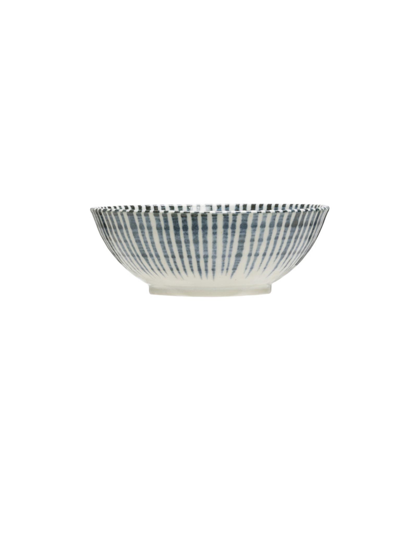 """Creative Co-op 6 3/4"""" Porcelain Bowl White w/Blue Pattern"""
