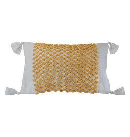 Foreside Home & Garden 14x22 Hand Woven Poppy Pillow Yellow