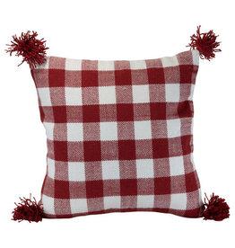 Foreside Home & Garden 20x20 Hand Woven Outdoor Bennet Pillow Red