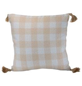 Foreside Home & Garden 20x20 Hand Woven Outdoor Bennet Pillow Cream