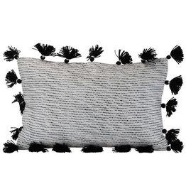 Foreside Home & Garden 14x22 Hand Woven Allison Pillow Black