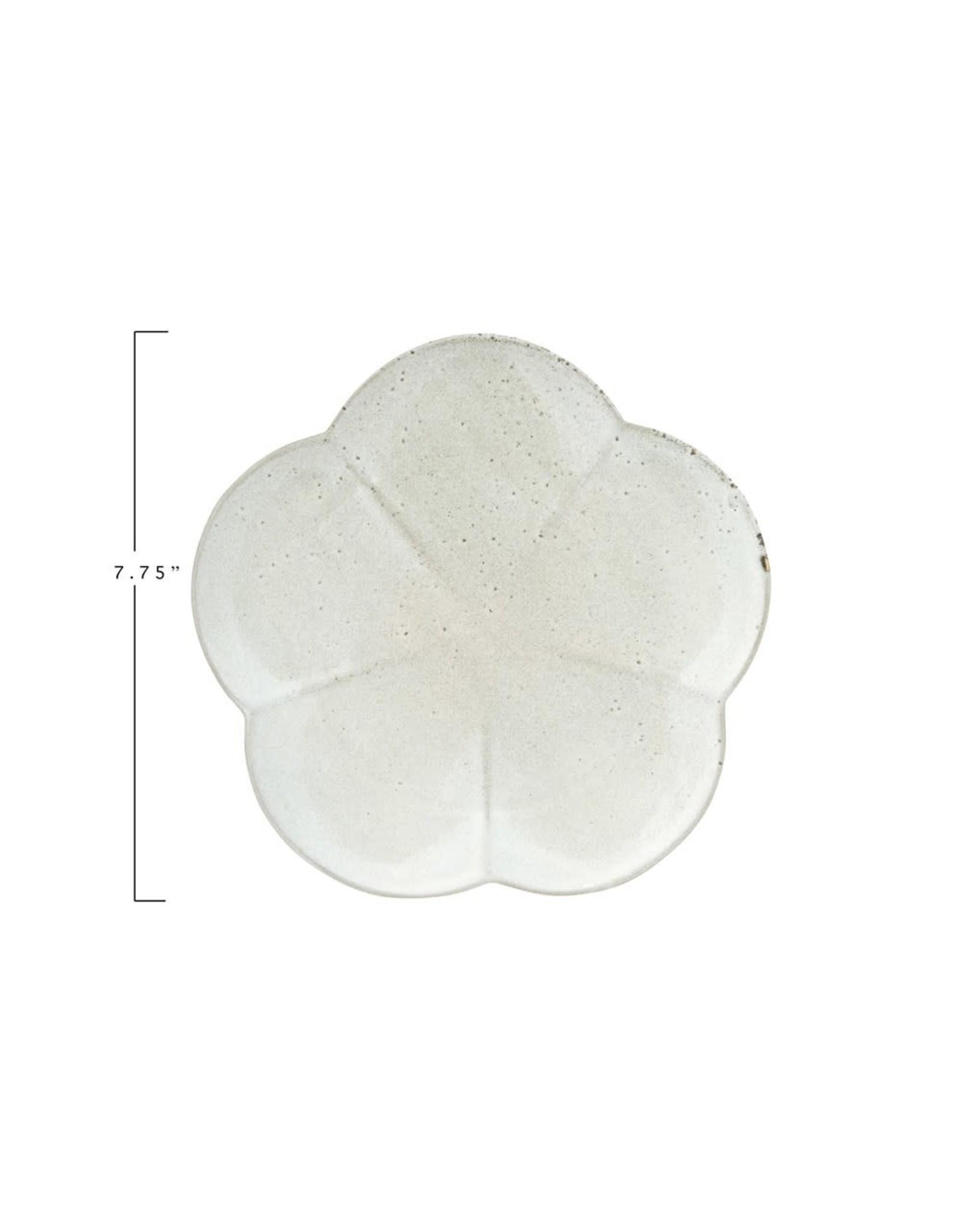 "Creative Co-op 7 3/4"" Stoneware Flower Plate - grey"