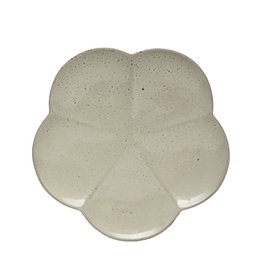 "Creative Co-op 7 3/4"" Stoneware Flower Plate - grey"