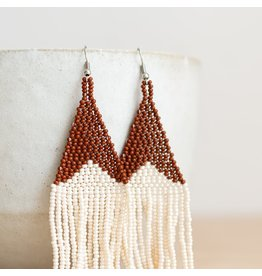 Fair & Simple Beaded Fringe Earrings in Cinnamon/Beige