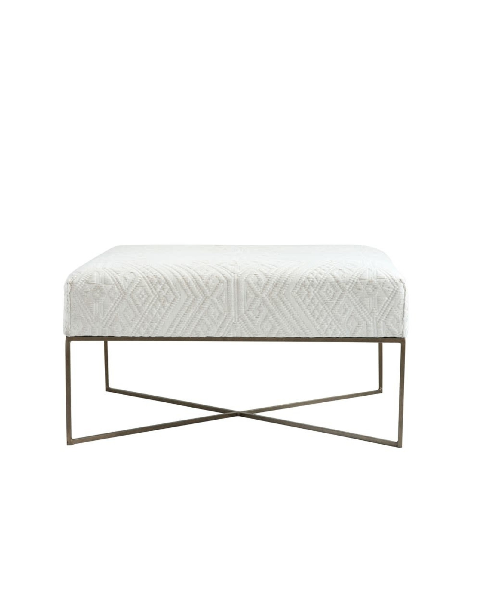 Creative Co-op Square Metal & Woven Upholstered Ottoman, Cream & Antique Brass Finish