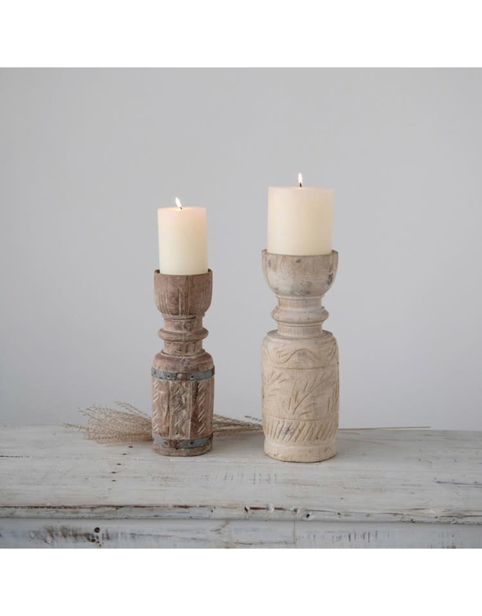 """Creative Co-op 4"""" Round x 12""""H Reclaimed Wood Candle Holder"""
