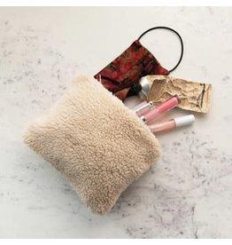 "Creative Co-op 8 1/4"" L Faux Sheerling Cosmetic Bag"