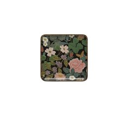 "Creative Co-op 10"" Enameled Acacia Wood Tray- Black w/ Florals"
