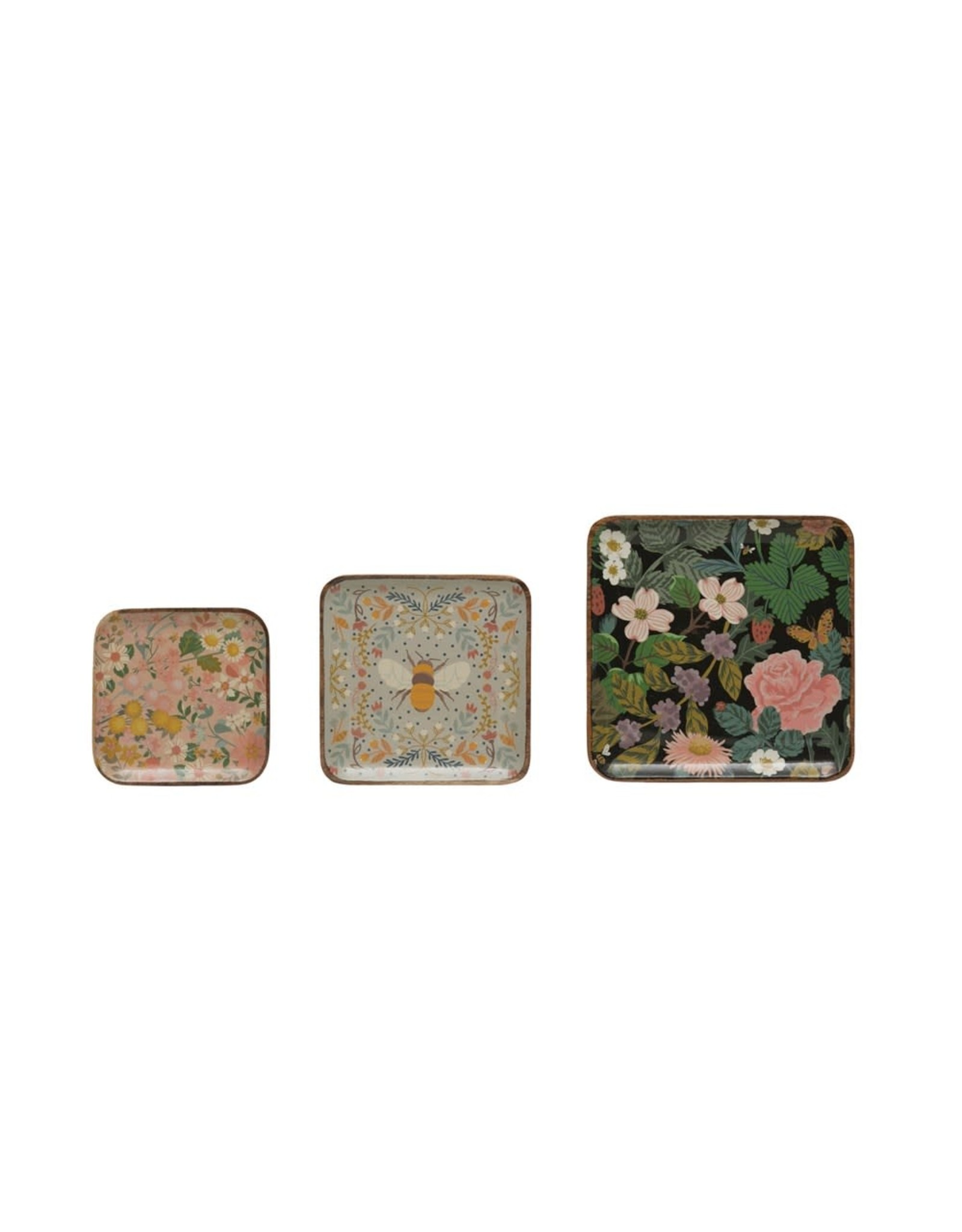 """Creative Co-op 10"""" Enameled Acacia Wood Tray- Black w/ Florals"""