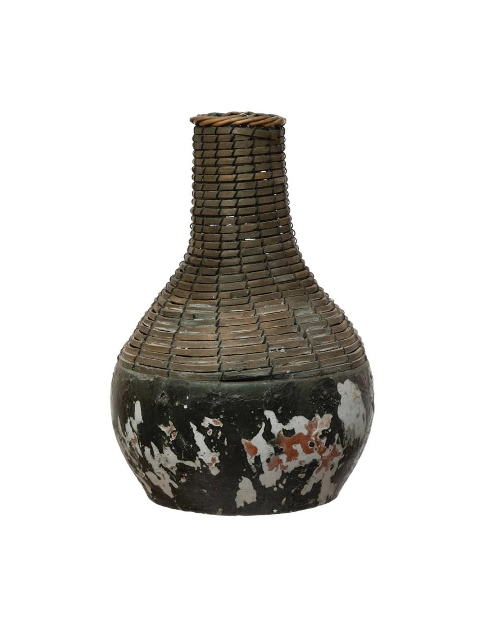 "Creative Co-op 11-3/4""H  Rattan & Clay Vase, Distressed Black"