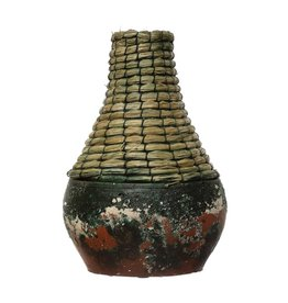 "Creative Co-op 9""H Rattan & Clay Vase, Distressed Black"