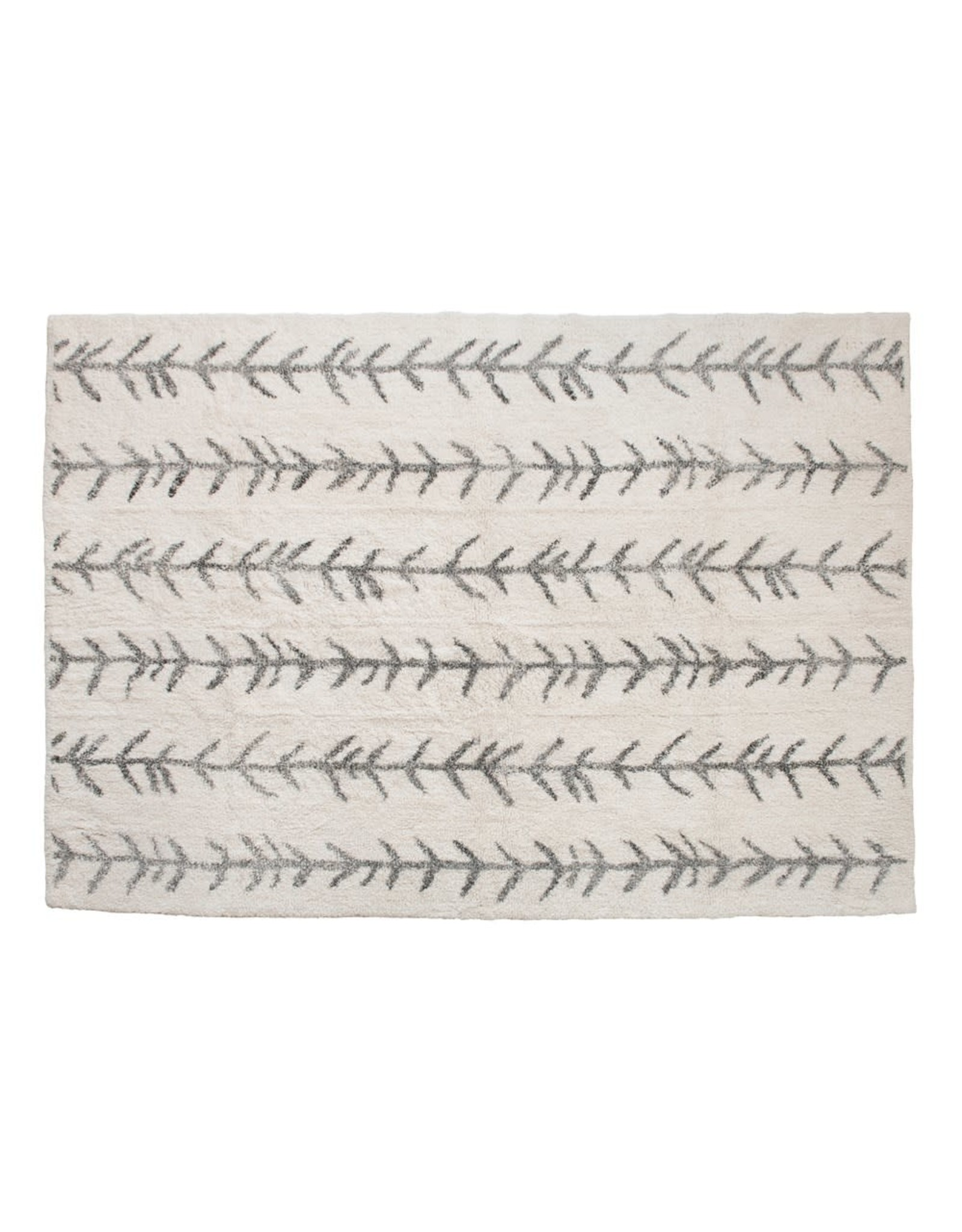 Creative Co-op 5' x 7' Cotton Tufted Rug, Cream w/ Arrow Lines