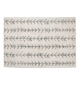 Creative Co-op 5' x 7' Cotton Tufted Rug, Cream w/ Arrow Lines
