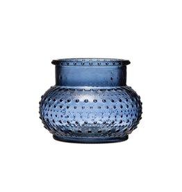 """Creative Co-op 5""""H Glass Hobnail Candle Holder/Vase, Blue"""