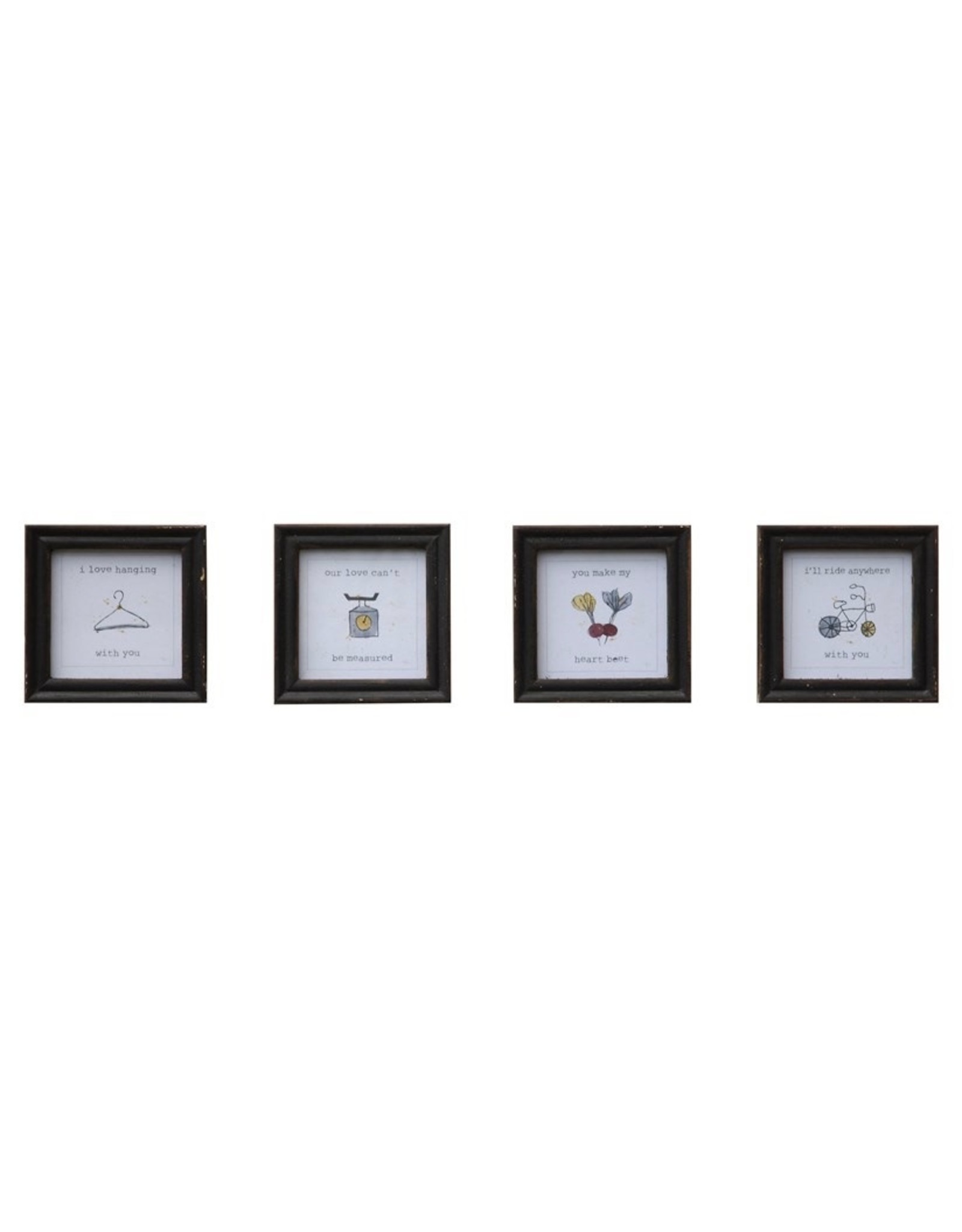 """Creative Co-op 4"""" Square Wood Frame, 4 Designs"""
