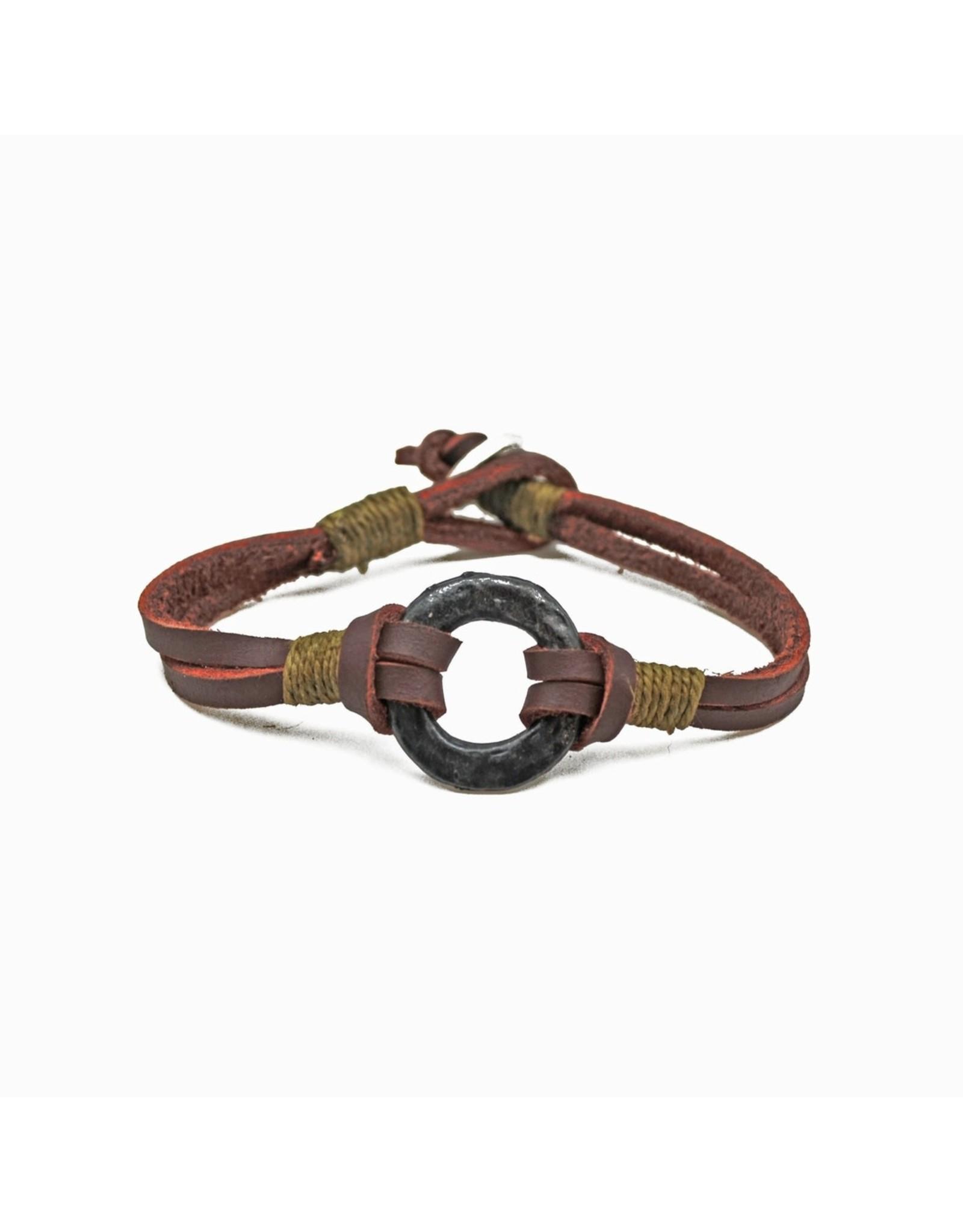 Anju Jewelry Aadi Brown Leather Men's Bracelet