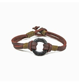 Anju Jewelry Aadi Brown Leather Men's Bracelet