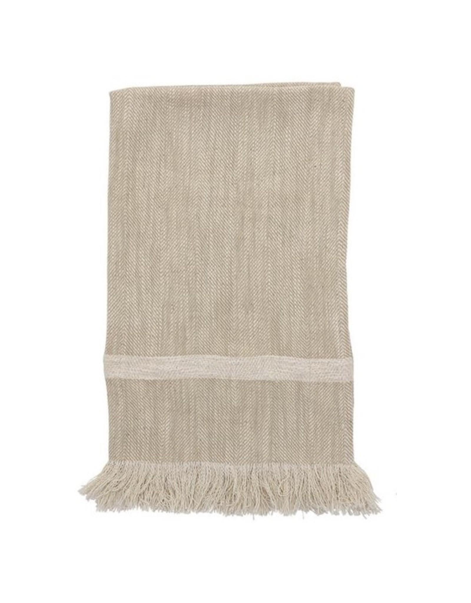 "Bloomingville 28"" L Cotton Striped Tea Towel w/ Fringe -Natural"