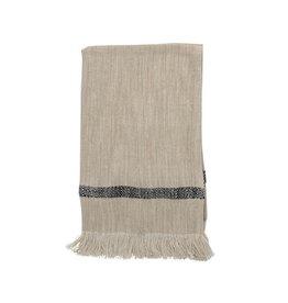 "Bloomingville 28"" L Cotton Striped Tea Towel w/ Fringe -Black"