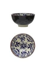 "Bloomingville 4 1/2"" Blue + Cream Daffodil Stoneware Bowl"