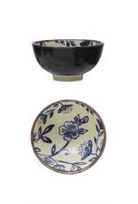 "Bloomingville 4 1/2"" Blue + Cream Pansy Stoneware Bowl"
