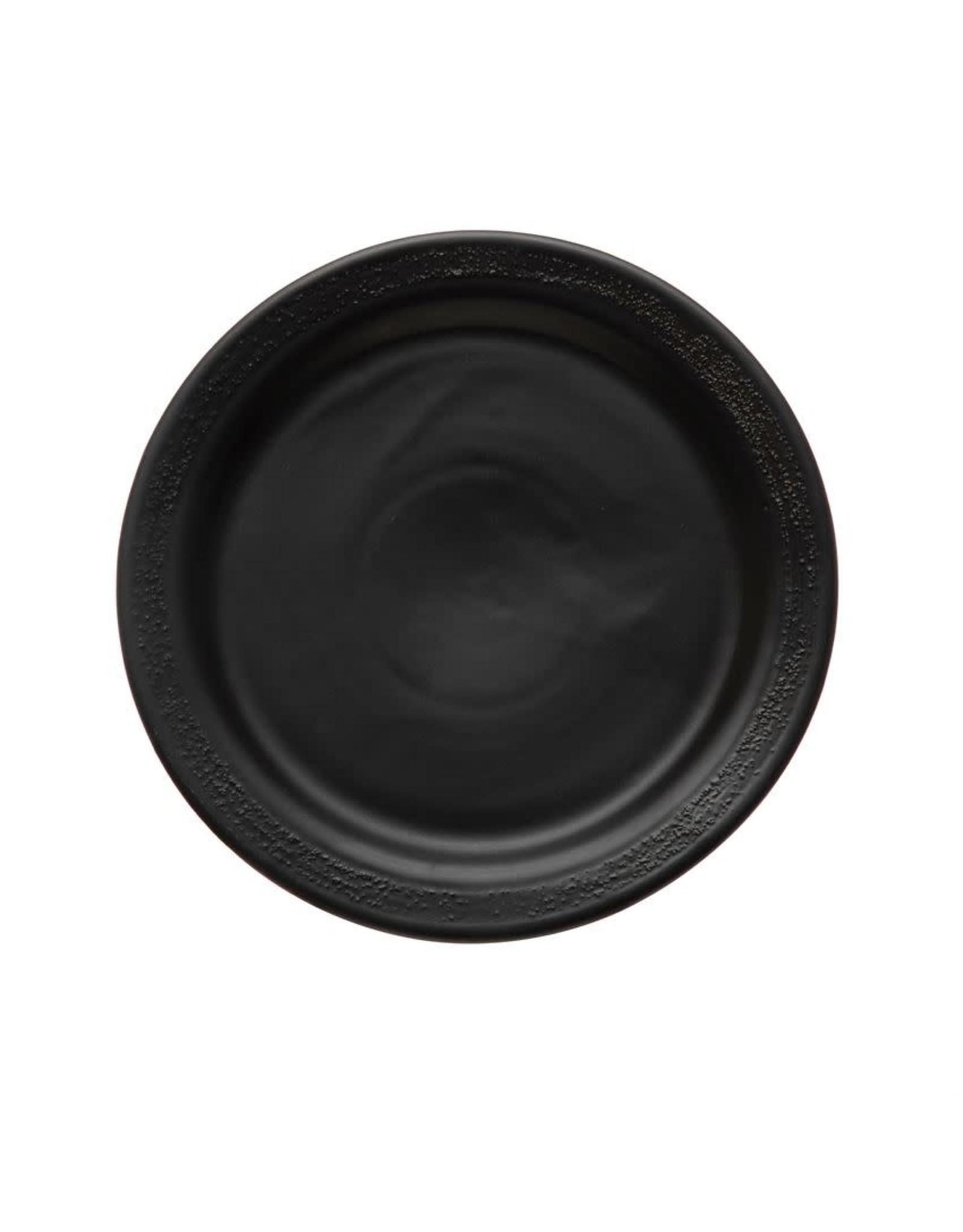 "Bloomingville 10"" Stoneware Plate w/ Textured Rim - Black"