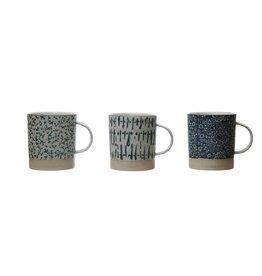 Bloomingville 16 oz Hand-Stamped Mug - Blue & Cream