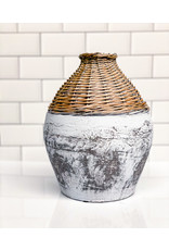 """Creative Co-op 9""""H  Rattan & Clay Vase, Distressed White"""