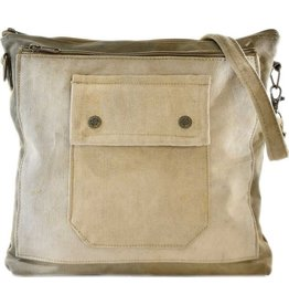 Vintage Addiction Recycled Military Tent Crossbody - Olive