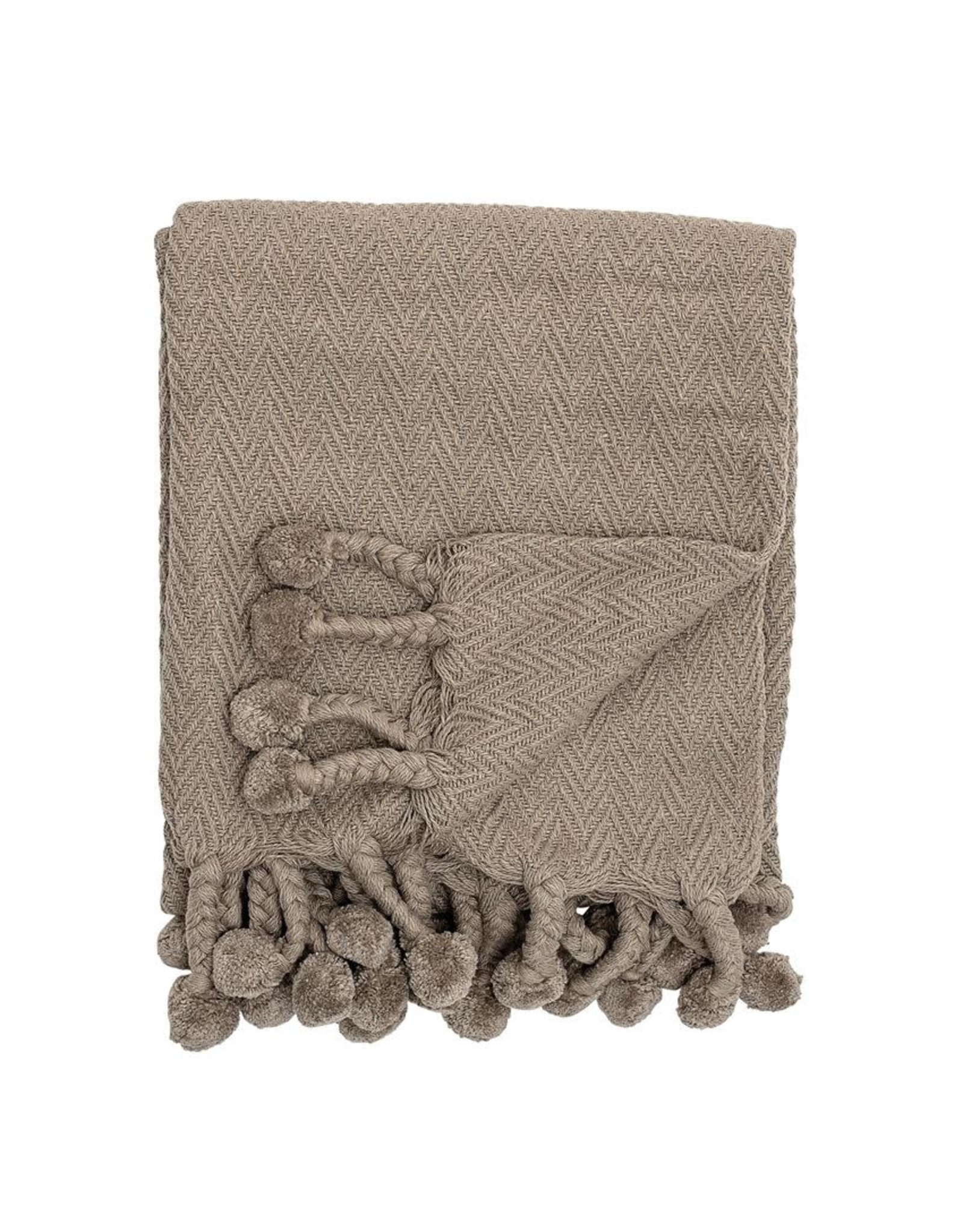 "Bloomingville 60"" L Cotton Throw w/ Pom Poms - Grey"