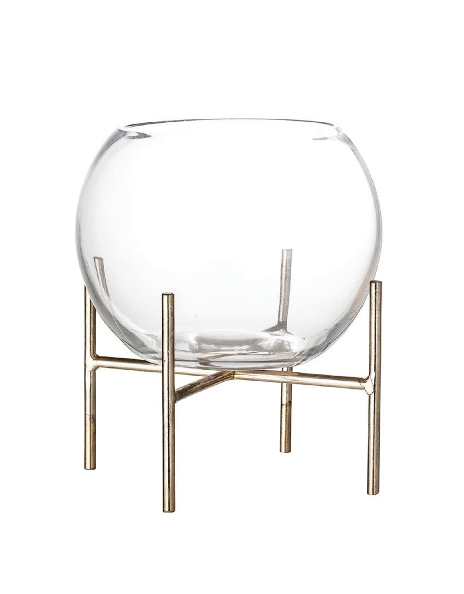 """Bloomingville 6"""" Glass Bowl Planter w/ Gold Metal Stand"""