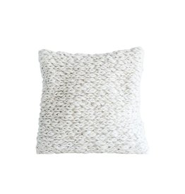 """Bloomingville 20"""" Chunky Wool Cable Knit Pillow - Cream"""