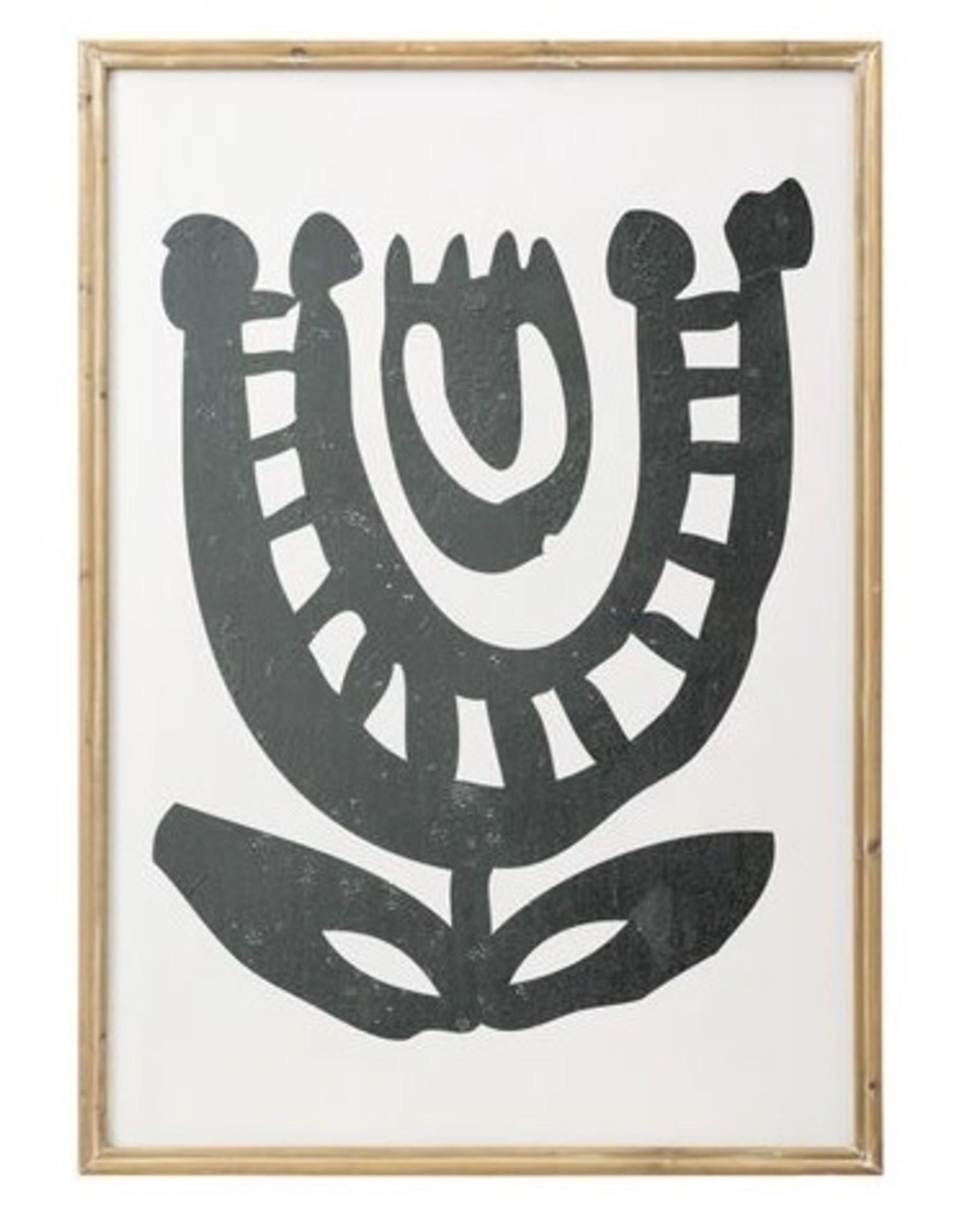 Bloomingville Wood Framed Black Abstract Print- Flower